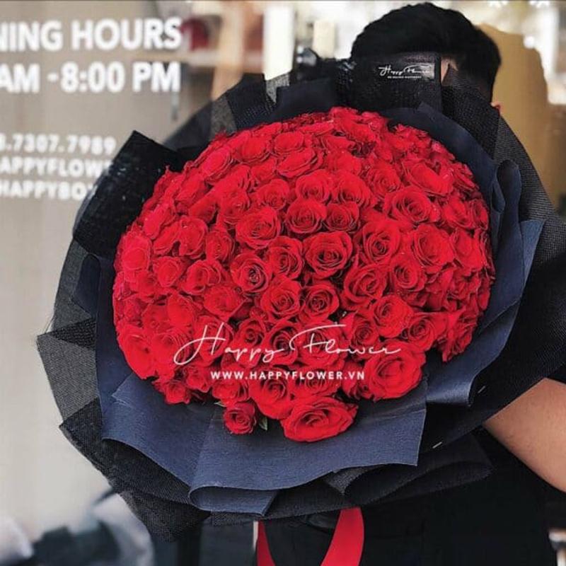 bó hoa hồng đỏ 100 bông đằm thắm