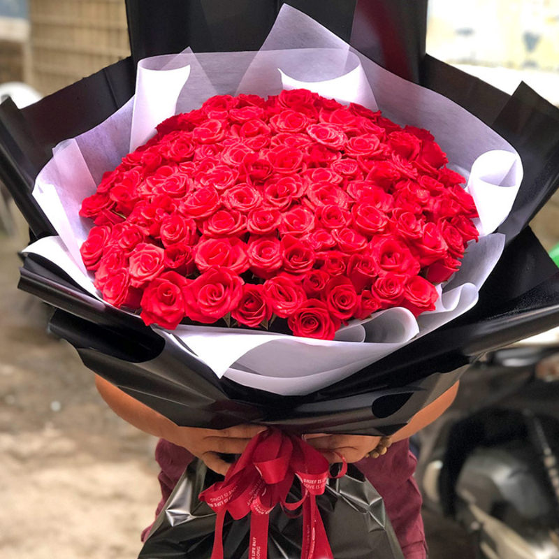 bó hoa hồng đỏ đẹp rực rỡ