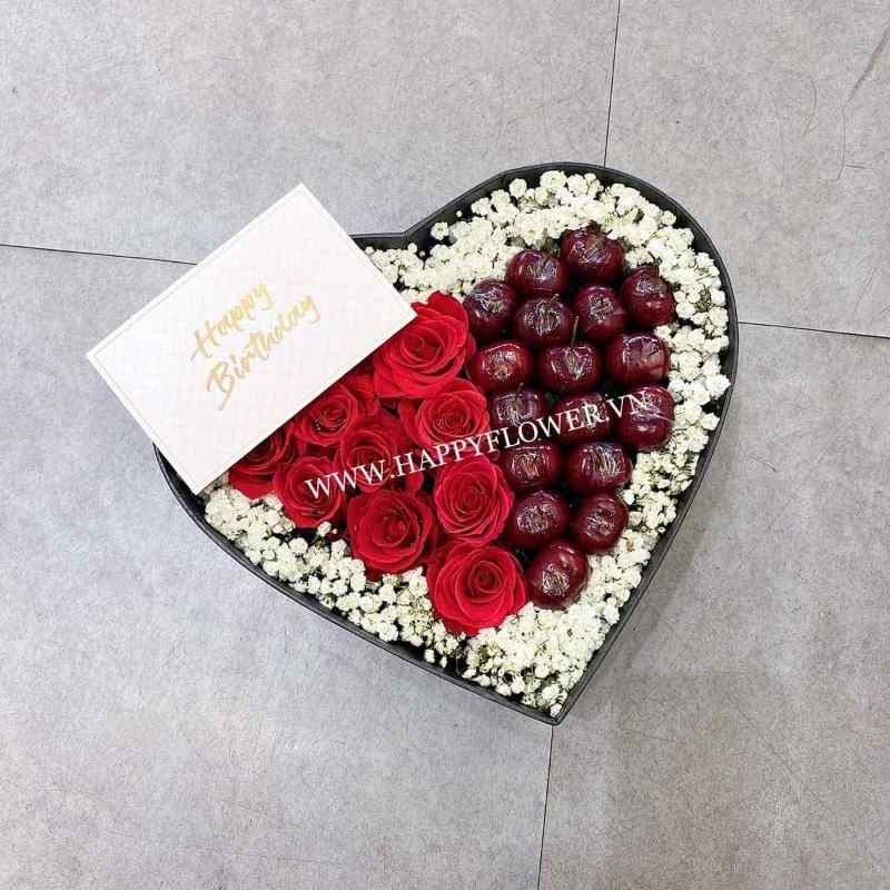 hộp hoa trái tim hồng đỏ mix cherry