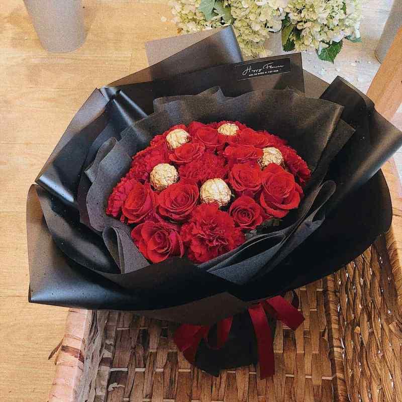 hoa hồng đỏ mix socola