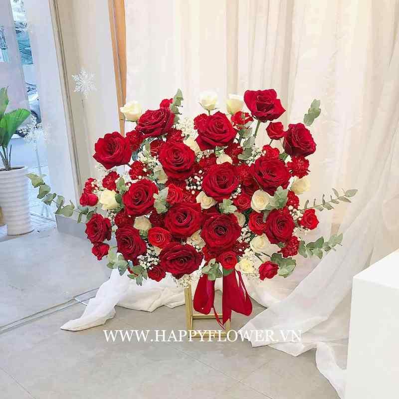Giỏ hoa Red Basket để bàn