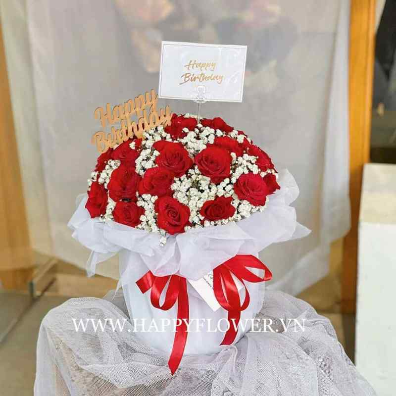 bó hoa hồng đỏ ngọt ngào
