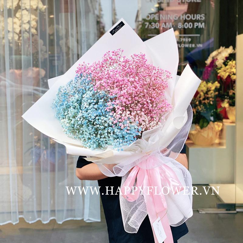Bó hoa sinh nhật khổng lồ baby hồng mix baby xanh