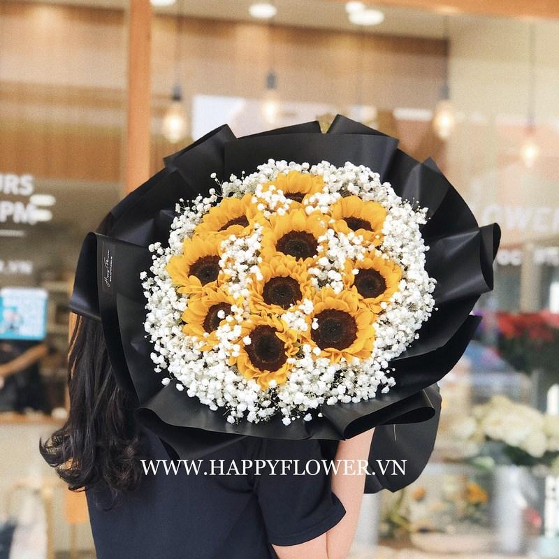 bó hoa sinh nhật khổng lồ hướng dương vàng mix hoa baby trắng