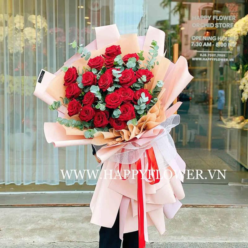 Bó hoa hồng đỏ Ecuador nhập khẩu tặng sinh nhật