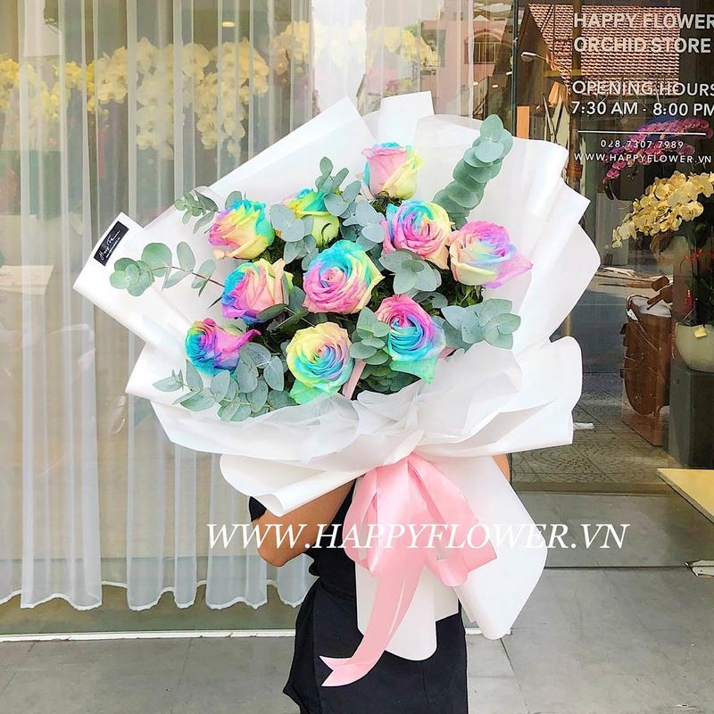 Bó hoa hồng Ecuador Fancy Cake khổng lồ màu cầu vồng mừng sinh nhật
