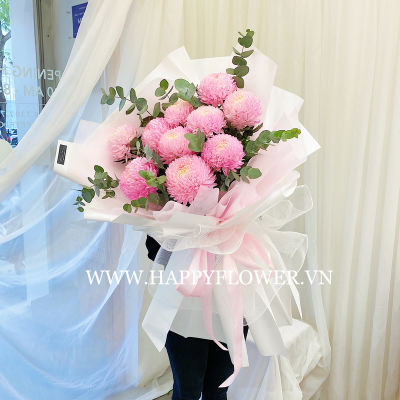 bó hoa sinh nhật khổng lồ cúc mẫu đơn hồng nữ tính