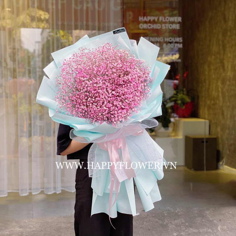 bó hoa sinh nhật khổng lồ baby hồng khổng lồ