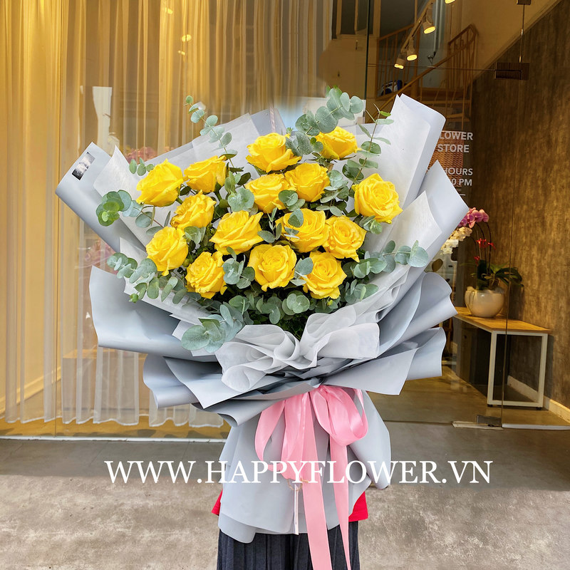 bó hoa sinh nhật khổng lồ hoa hồng vàng Ecuador