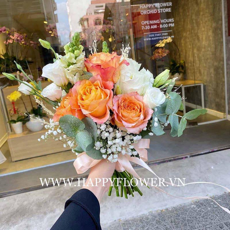 bó hoa cưới hoa hồng cam mix cát tường