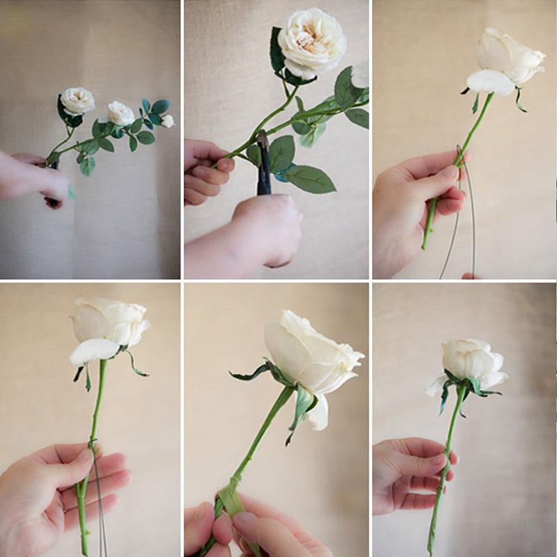 hướng dẫn các bước cắm hoa hồng trắng