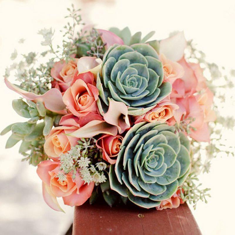 bó hoa cưới hoa hồng cam phối sen đá