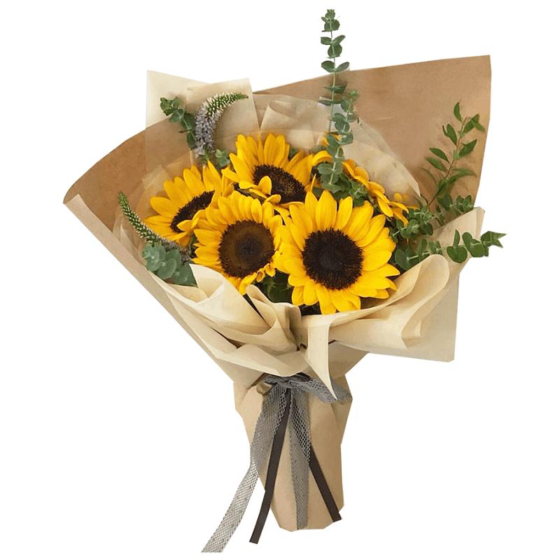 bó hoa hướng dương 5 bông màu vàng trong giấy gói