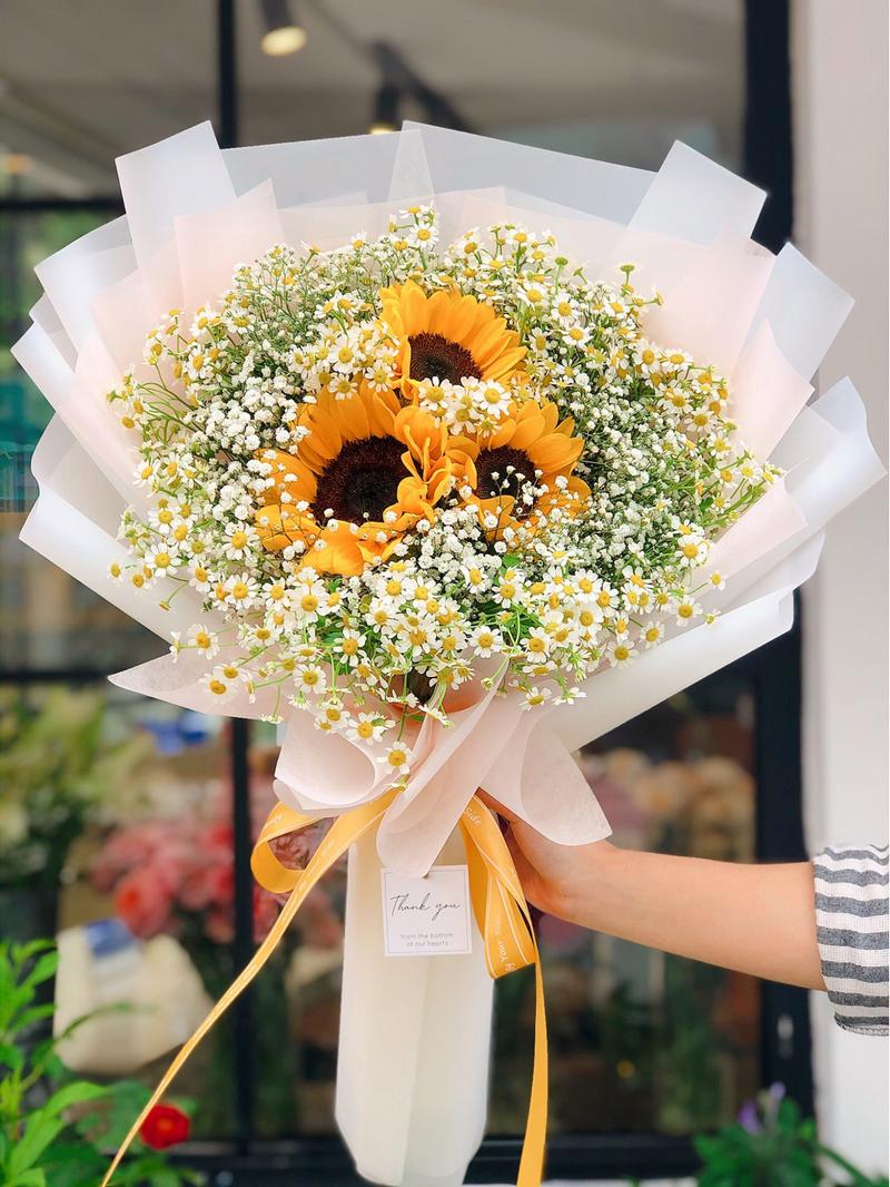 bó 3 hoa hướng dương màu vàng và hoa cúc trắng trong giấy gói trắng