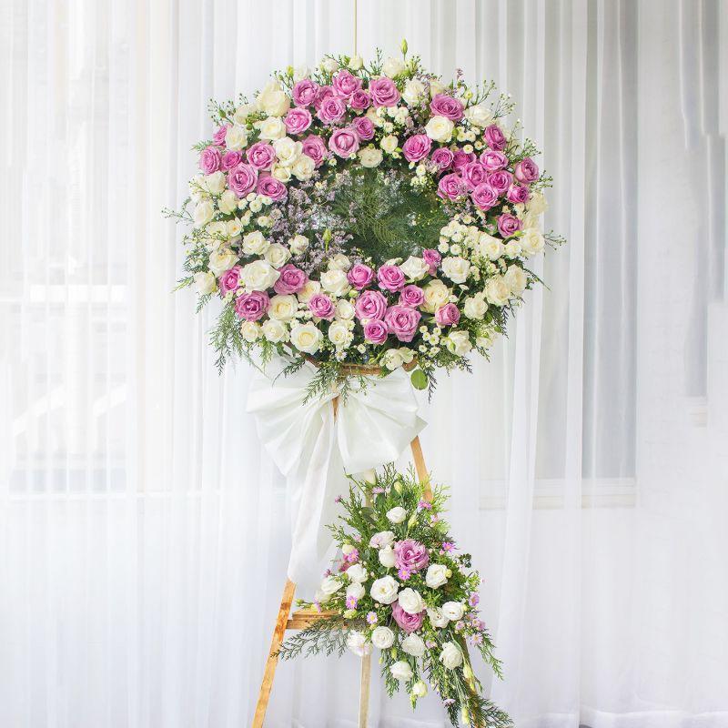 vòng hoa tang lễ hồng trắng