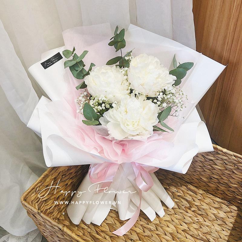 Bó hoa 3 bông mẫu đơn trắng mix hoa baby