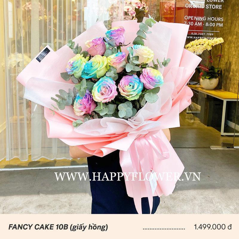 bó hoa hồng màu pastel giấy gói hồng