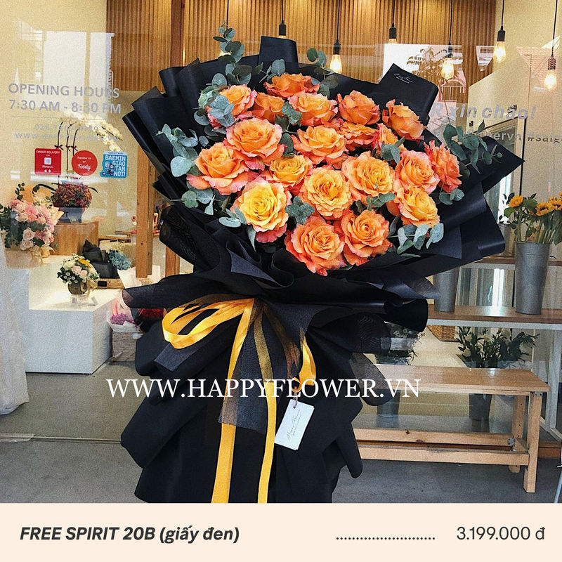 Bó hoa hồng cam sặc sỡ với giấy gói đen