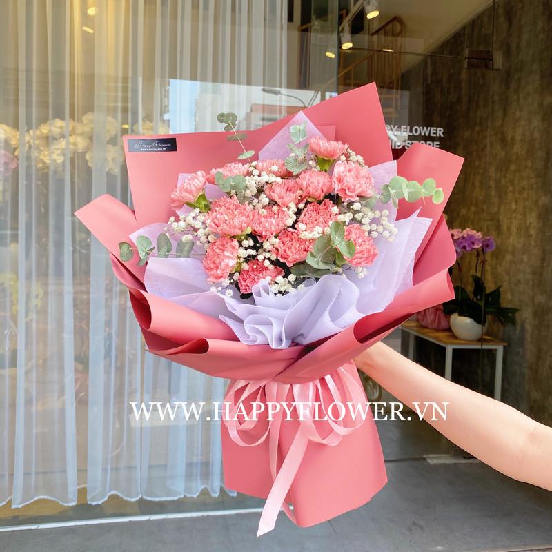 bó hoa cẩm chướng hồng mix hoa baby trắng