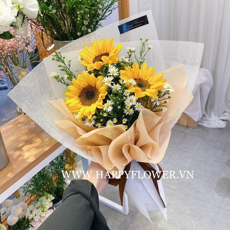 bó hoa hướng dương mix hoa cúc trắng