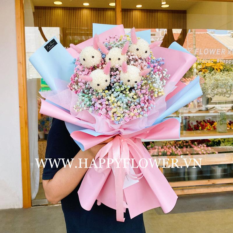 bó hoa baby cầu vồng mix thú bông đáng yêu