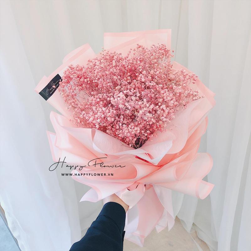bó hoa baby hồng đầy nữ tính.