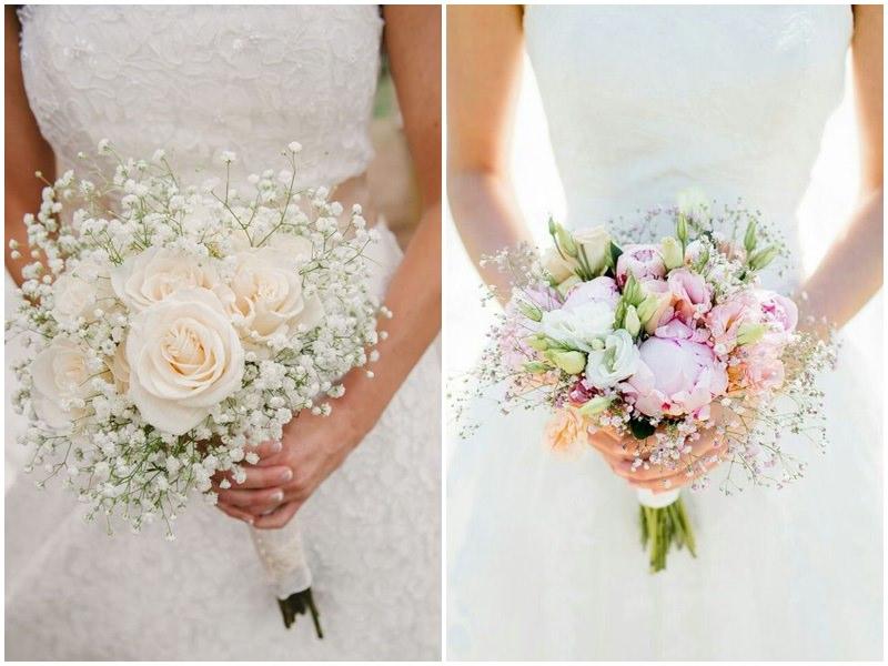 bó hoa cưới cầm tay cô dâu từ hoa baby