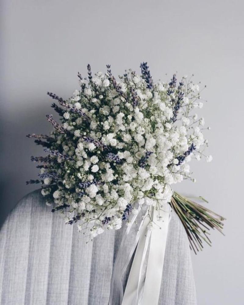 bó hoa cưới baby mix lavender