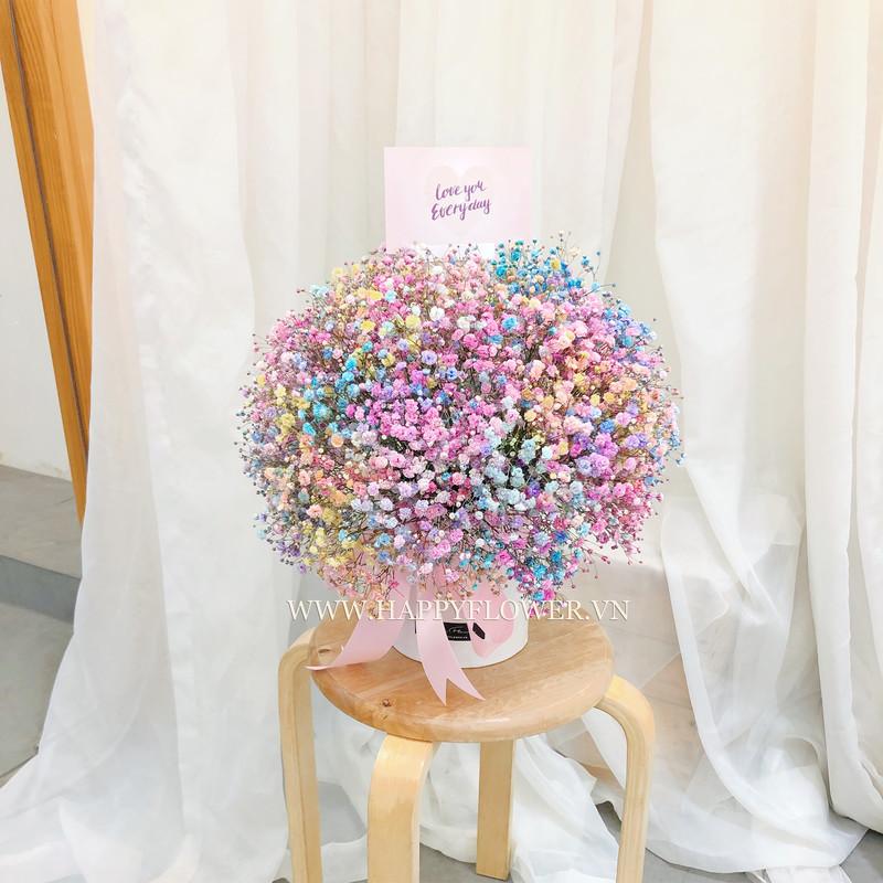 hộp hoa baby cầu vòng để được bao lâu