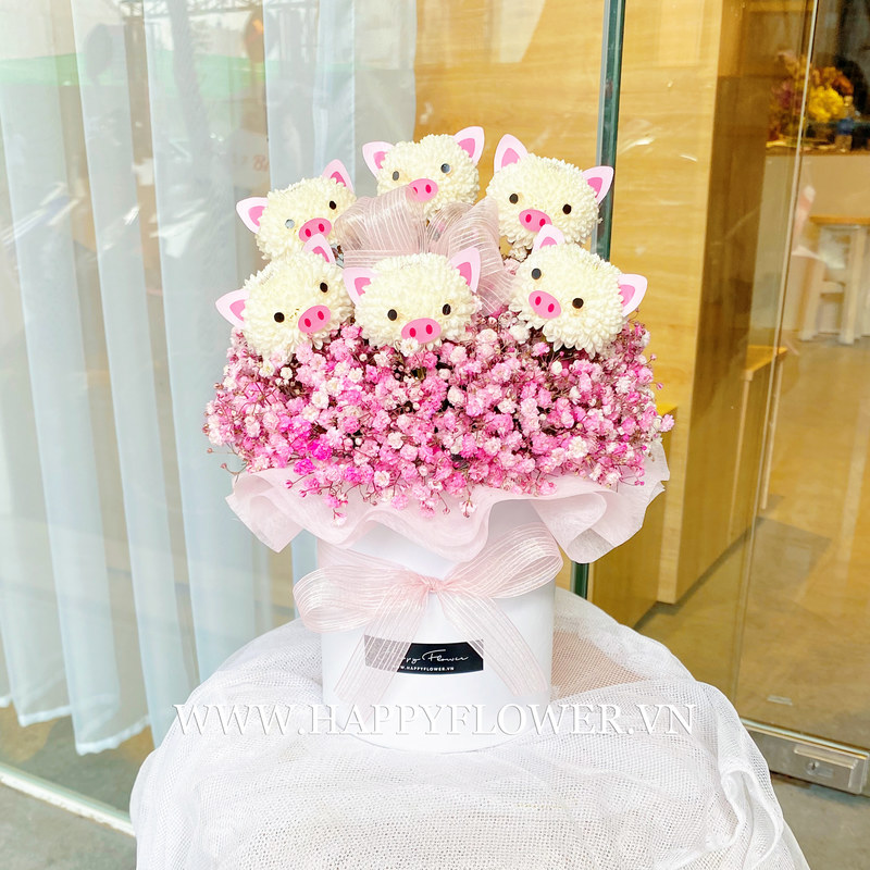 hộp hoa baby hồng mix ping pong heo giá bao nhiêu