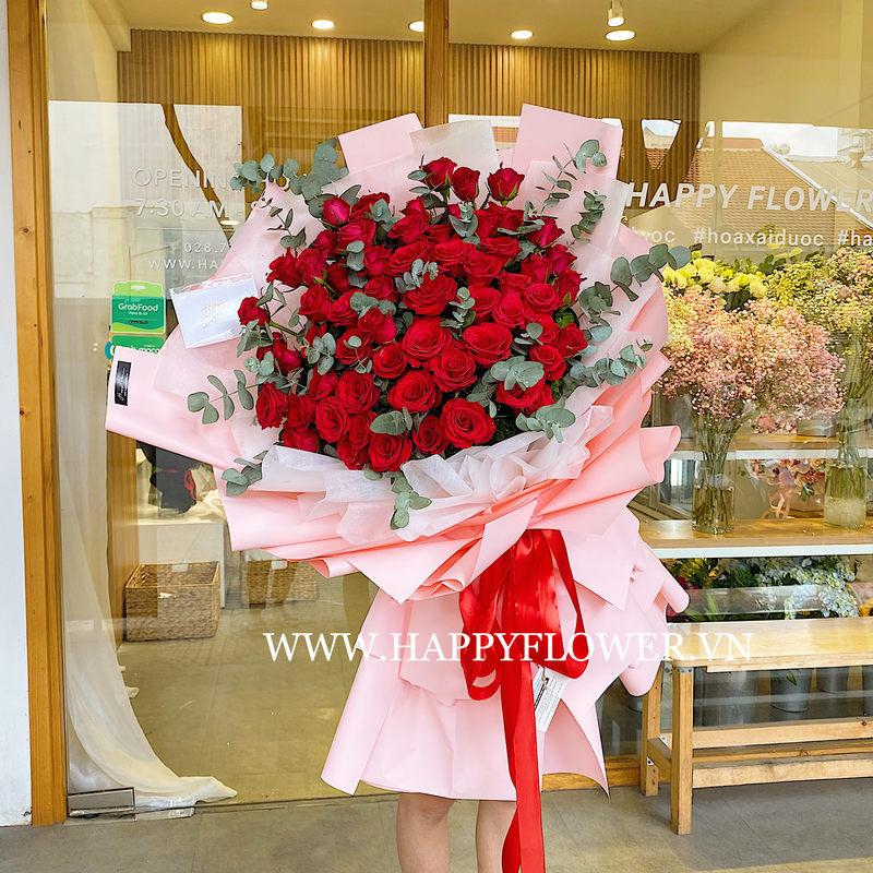 bó hoa chúc mừng hoa hồng đỏ rực rỡ
