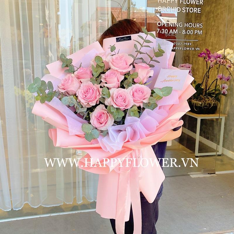 bó hoa hồng giấy gói hồng