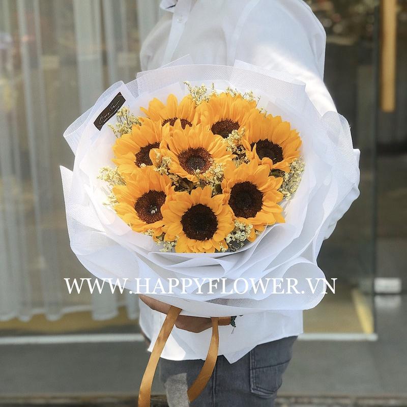 bó hoa hướng dương vàng giấy gói trắng