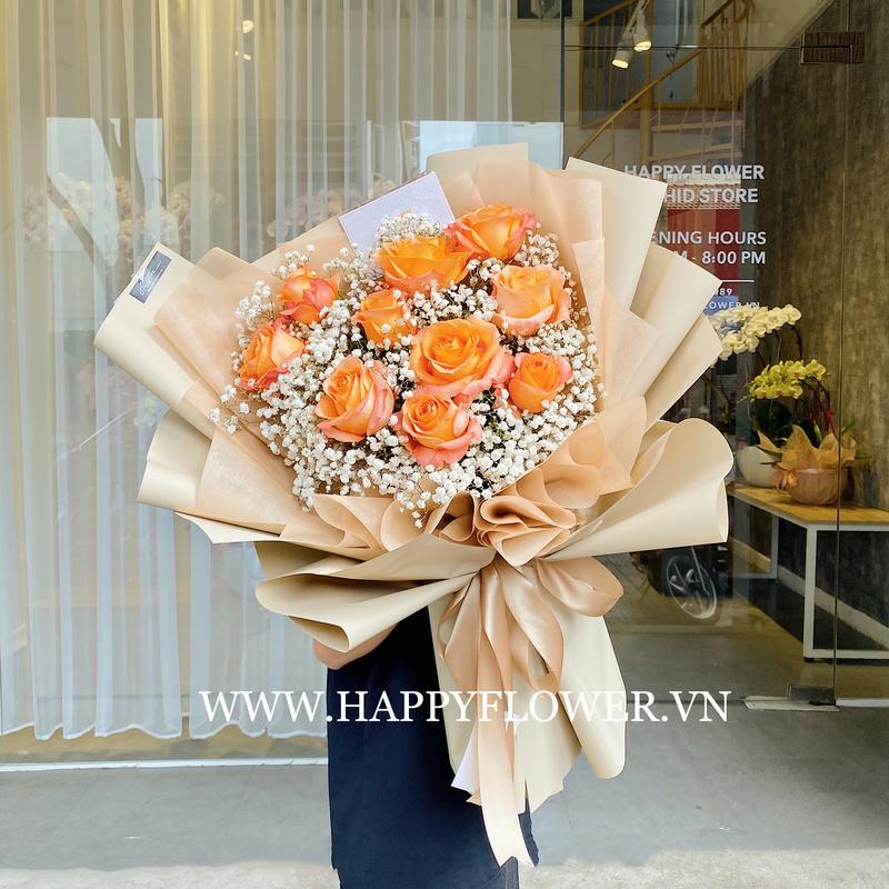 bó hoa hồng cam mix hoa baby trắng