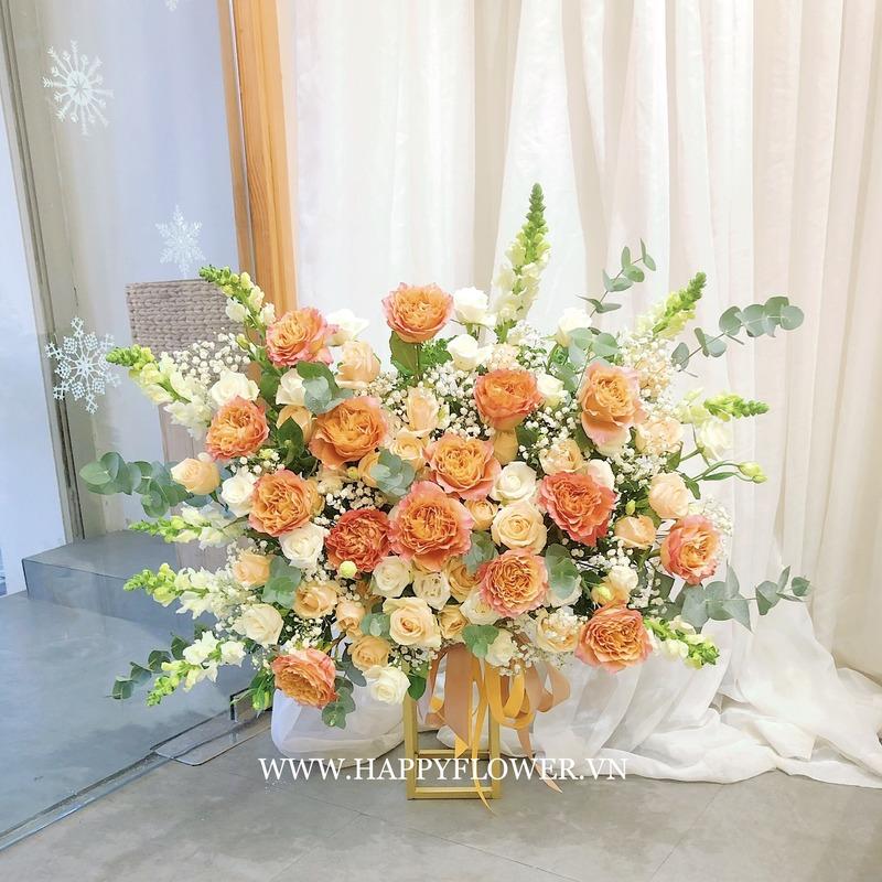 kệ hoa chúc mừng hoa hồng vàng cam mix hoa hồng kem
