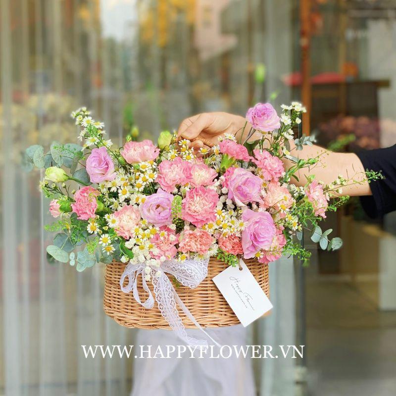 Một lẵng hoa cẩm chướng với sắc hồng tinh tế