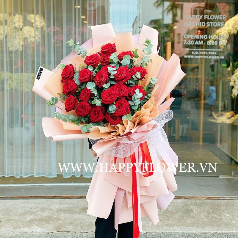 Bó hoa hồng chúc mừng chiến thắng