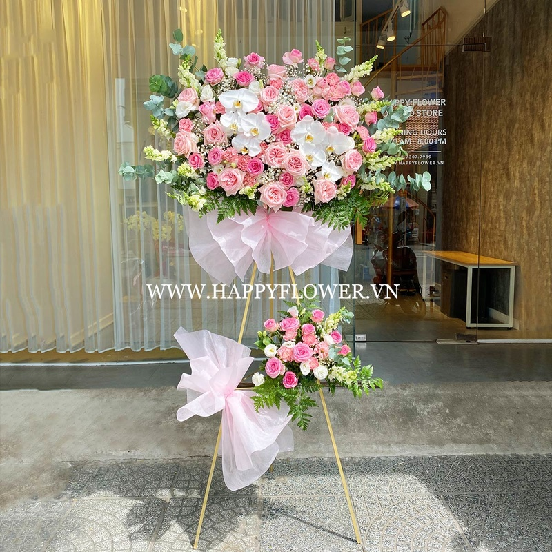 lẵng hoa 2 tầng hoa hồng mix lan hồ điệp