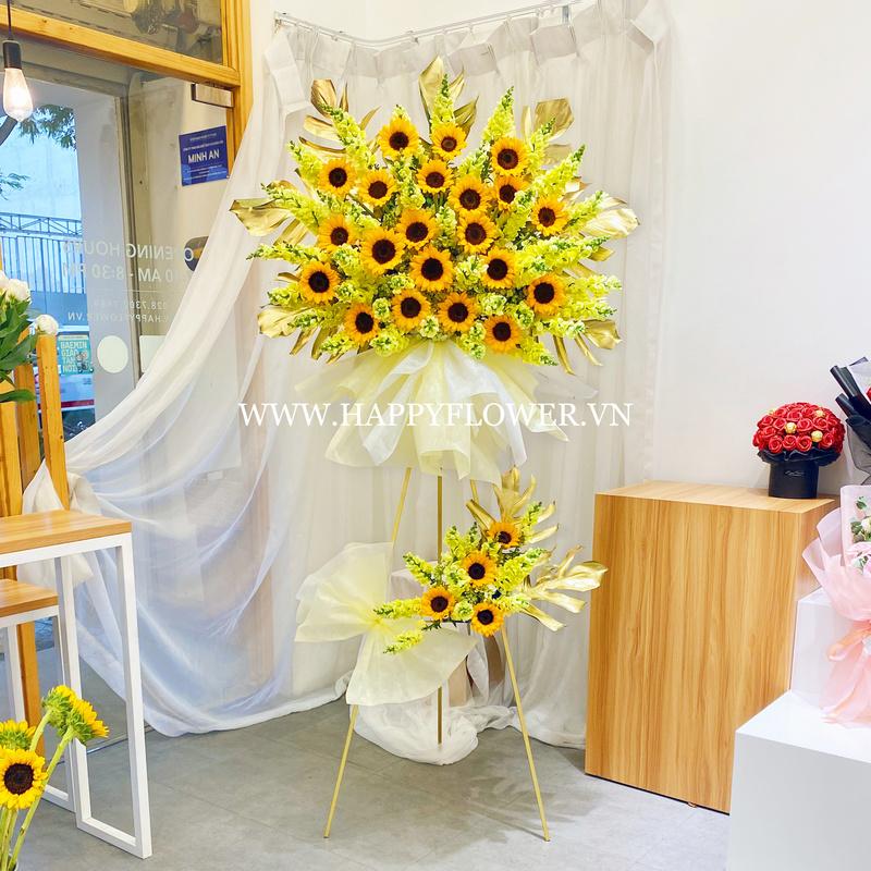 lẵng hoa hướng dương vàng 2 tầng