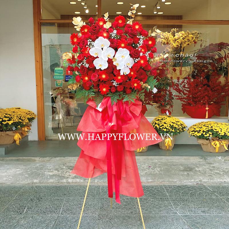 lẵng hoa chúc mừng hoa hồng đỏ mix lan hồ điệp 2 tầng