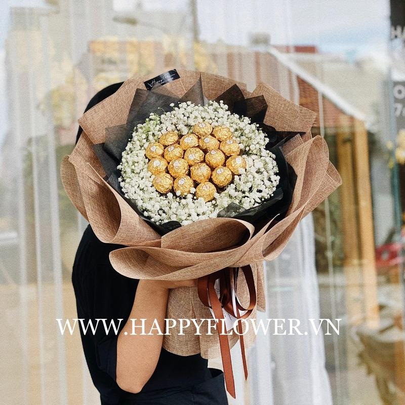 bó hoa chúc mừng giáng sinh socola ăn được mix hoa baby trắng