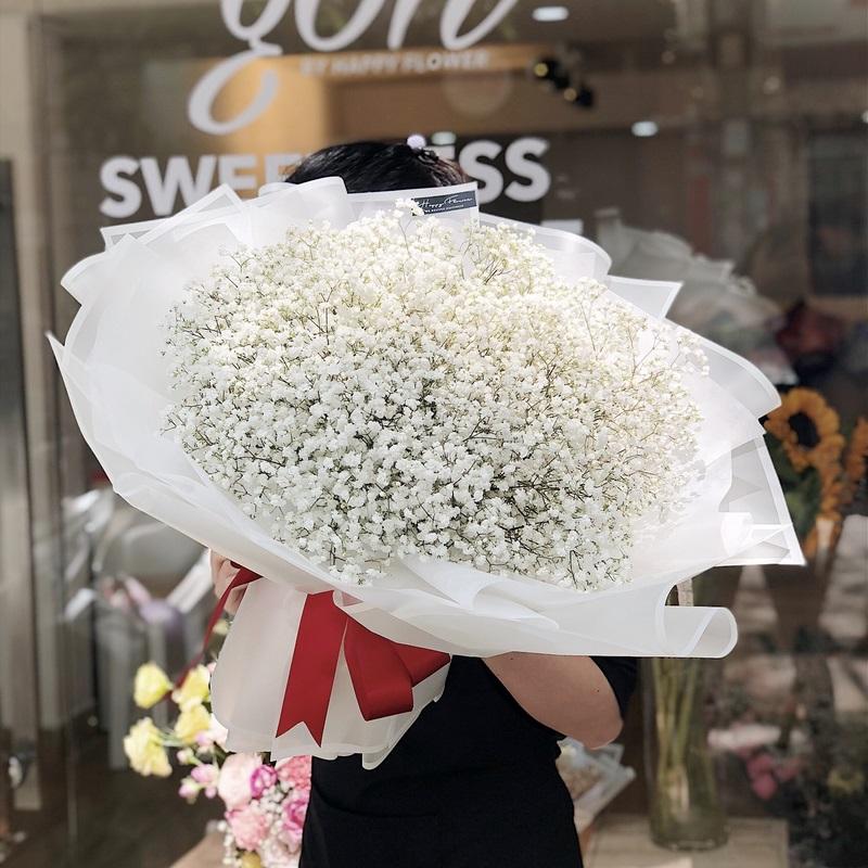 bó hoa baby trắng chúc mừng giáng sinh tinh tế