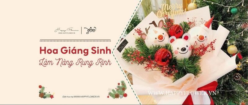 Liên hệ Happy Flower đặt hoa chúc mừng giáng sinh
