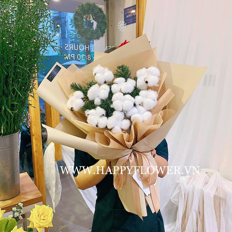 bó hoa kẹo bông gòn trắng tinh khôi