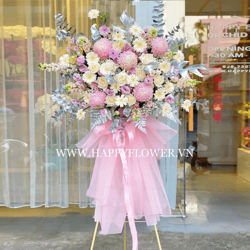 kệ hoa cẩm tú cầu màu tím hồng