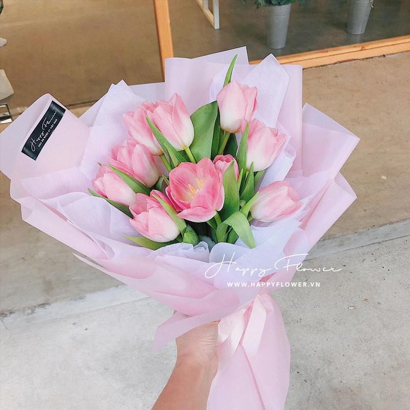 bó hoa tulip hồng tinh tế