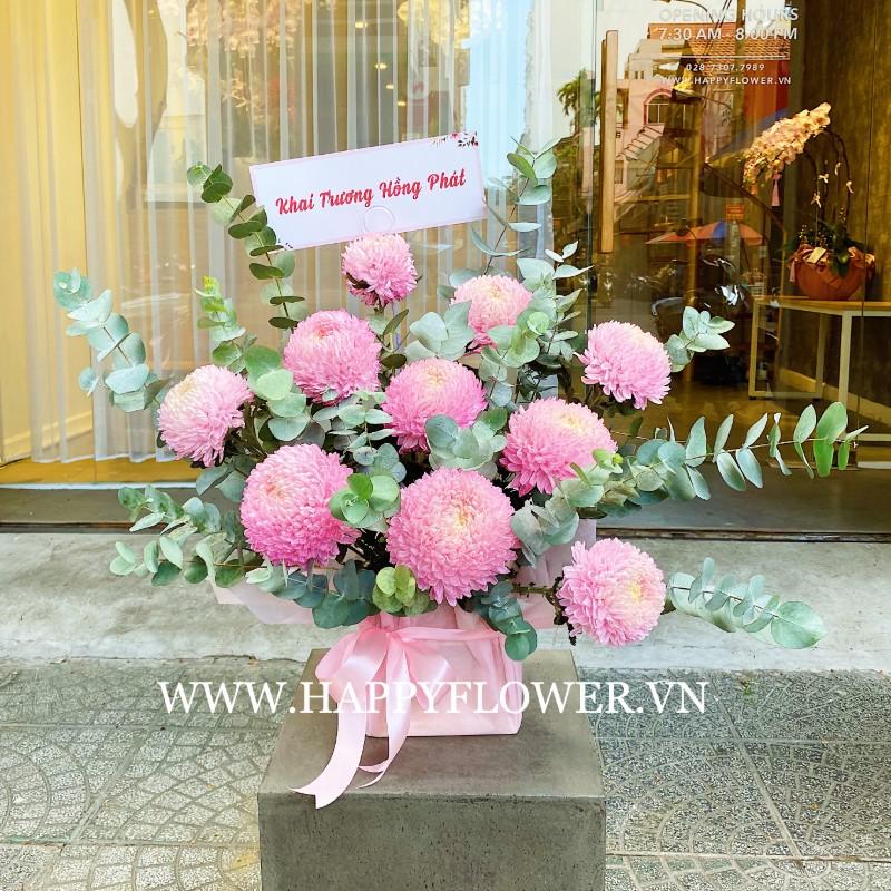 Hoa chúc mừng may mắn màu hồng