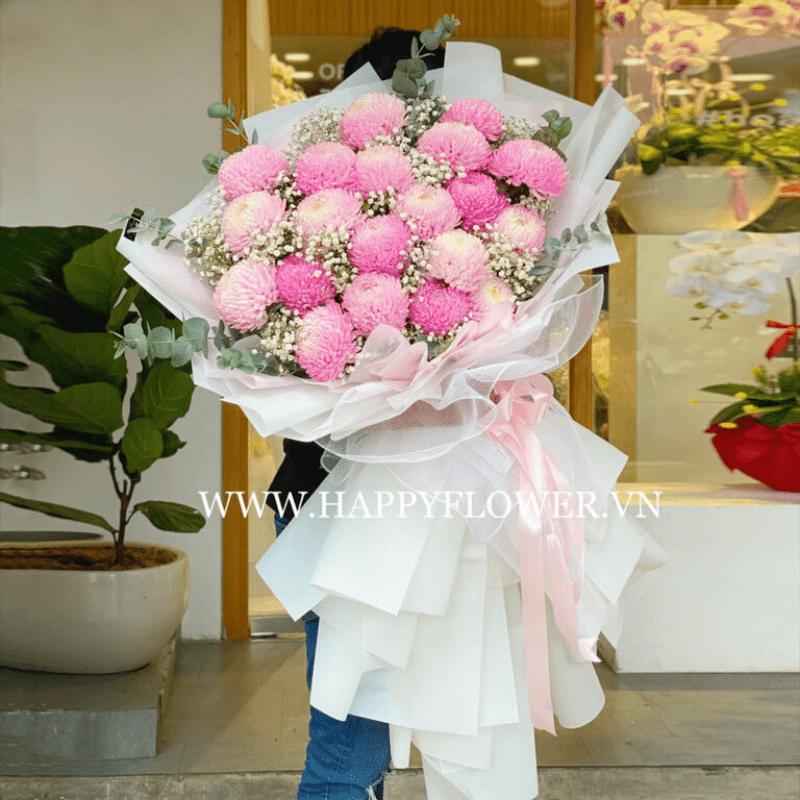 bó hoa mẫu đơn màu hồng pastel