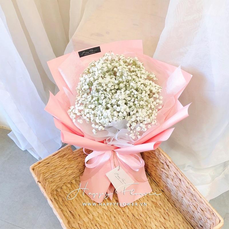 bó hoa baby gói giấy hồng