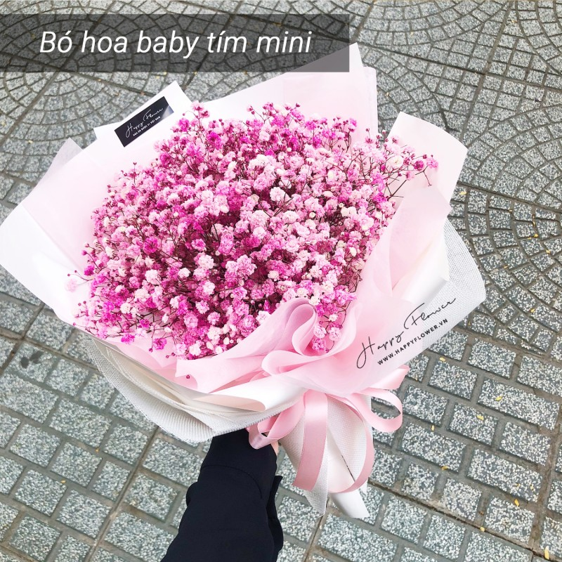 bó hoa baby tím đẹp ngất ngây